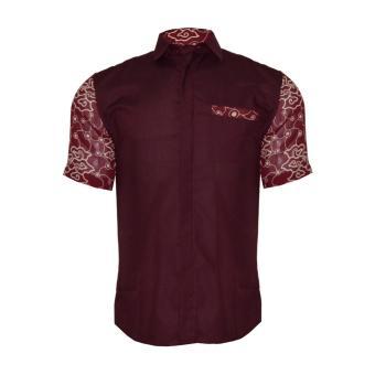 EN-ZY Men Batik Cap Short Sleeve Shirt - Maroon