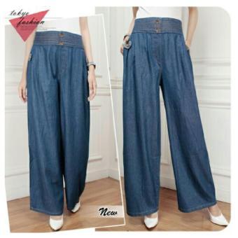 168 Collection Celana Levania Kulot Jeans Pant-Biru
