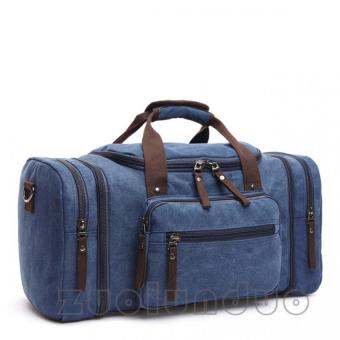 Zuo Lun Duo Bag big Travelbag canvas Tas selempang Tas mudik Bag fashion [ Biru Tua]