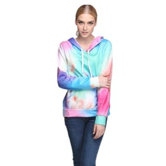 Gradient color printing fashion hooded sweater, casual sweater coat color