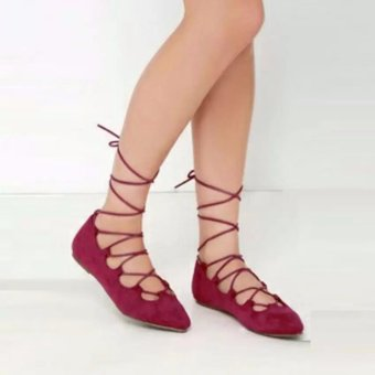 Flat Shoes Balerina - Sepatu Flat Yutaka Maroon
