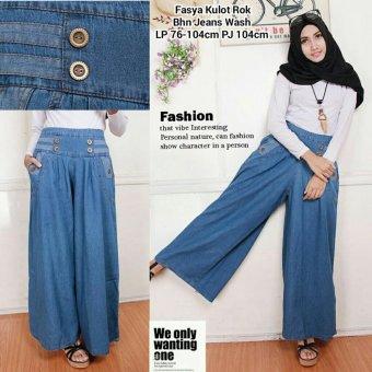 Harga Terbaru 168 Collection Celana Kulot Faszha Jeans Pant-Biru