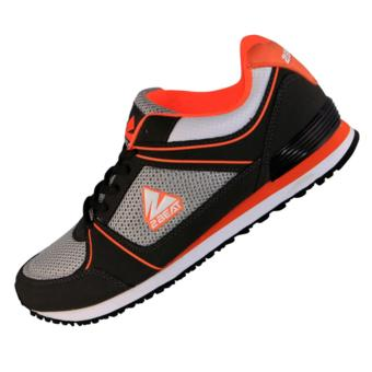 2Beat Keyza Sepatu Lifestyle - Black Orange Grey White