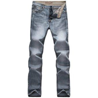Harga Terbaru Mens Retro Slim Fit Denim Pants Straight Vintage Skinny Jeans