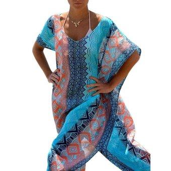 OSEM Womens Chiffon Robe Beach Dress Swimsuit Bathing Suits Bikini Cover-ups (Blue)