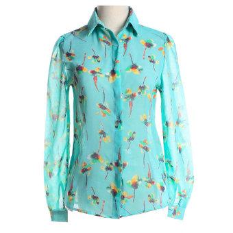 ZUNCLE Printed Chiffon Long-sleeved Shirt Sunscreen(Green)