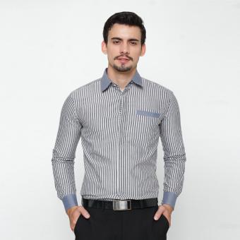 EN-ZY Men Shirt Long Sleeve Striped - Grey