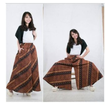 Harga Terbaru 168 Collection Celana Rok Brown Stripe Kulot Batik Pant-Coklat