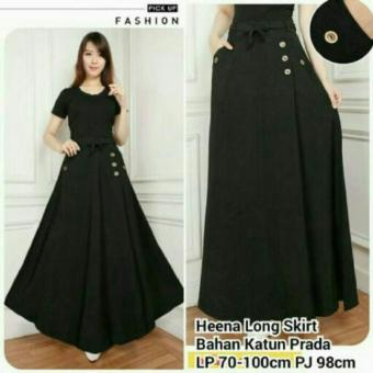 Harga Terbaru 168 Collection Rok Maxi Black Button Long skirt-Hitam
