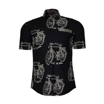 EN-ZY Men Batik Onthel Short Sleeve Shirt - Hitam