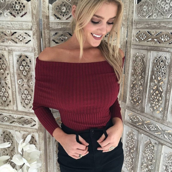Fashion Boat Neck Long Sleeve Pullover Sweater(Wine Red) - intl