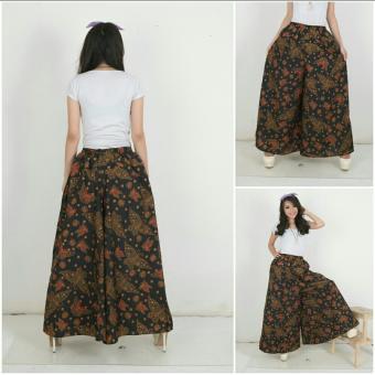 Harga Terbaru SB Collection Celana Kulot Rok Batik Black Butterfly Wide Jumbo Long Pant-Hitam