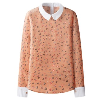 ZUNCLE Chiffon long-sleeved T-shirt Tops(Orange)- Intl