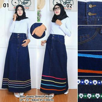 Harga Terbaru 168 Collection Rok Maxi Jeans Sinta Long Skirt-02 Biru Tua