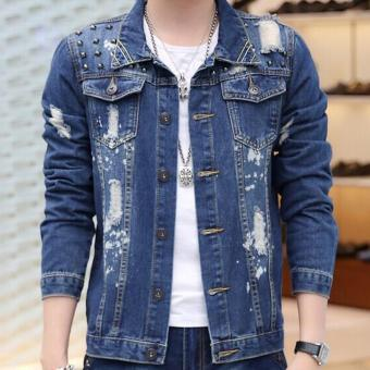 Harga Leyi Man hole tide cowboy coat of cultivate one s morality Blue .