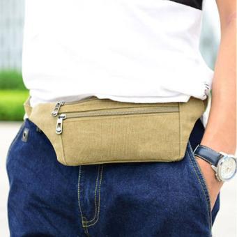 2016 Pria Mode Cell Phone Bag Canvas Sport Bag New Tas Pinggang (Khaki)