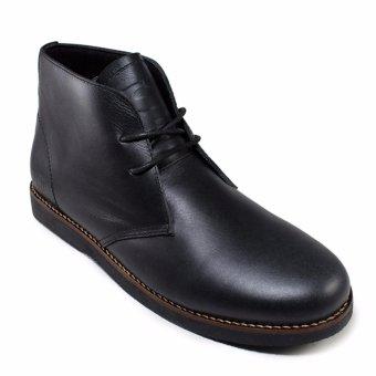 harga Sauqi Chukka Sepatu Casual Boots Pria - Kulit Asli Black Lazada.co.id