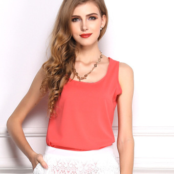 ZUNCLE Chiffon Sleeveless Vest T-shirt(Red)