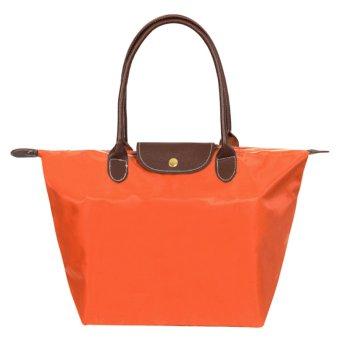 360DSC Middle Size Fashion Folding Nylon Dumpling Shape Bag Handbag Tote Bag Beach Bag for Women - Orange - Intl