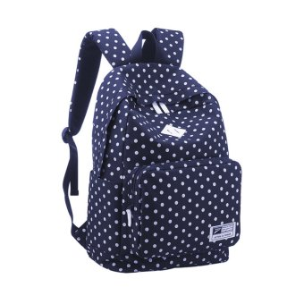 360DSC Womens Girls Polka Dots Canvas Backpack Rucksack Travel School Bag - Navy Blue