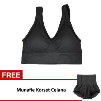 Munafie - Bra Set Sports Bra Pengencang Payudara Free Munafie Slim Pant Celana Korset - Black. >>>>