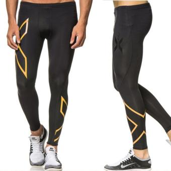 Men 2XU Professional Lycra Trousers Compression Speed Dry Nylon Stretch Pants (Black+Silver)