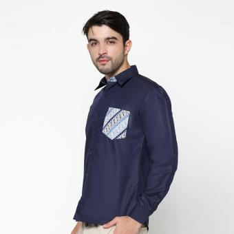 EN-ZY Men Shirt Pocket Batik Parang - Navy