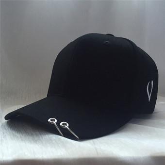 Harga Terbaru HengSong Unisex Fashion wanita pria Jepang Double Ring Solid tandai tutup topi bisbol hitam