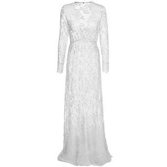 harga Sajak wanita Leher v lengan baju dalam panjang Maxi Renda Elastis pinggang tinggi dan panjang plus ukuran gaun (putih) - International Lazada.co.id