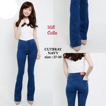 Harga Terbaru 168 Collection Celana Cutbray Jeans Pant-Navy