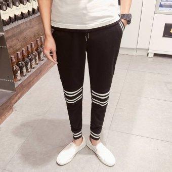 ZUNCLE Men's Screw Thread Hit Color Slim Feet Pant(Black)