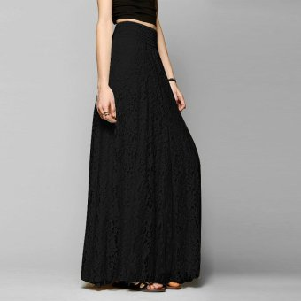 harga ZANZEA 2016 gaya musim panas Fashion wanita baju renda panjang Maxi elegan dua lapisan elastis pinggang tinggi hitam rok Saia S-XL - International Lazada.co.id