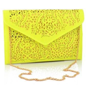 360DSC Retro Hollow Envelope PU Chain Sling Bag Clutch Bag Fluorescent Yellow