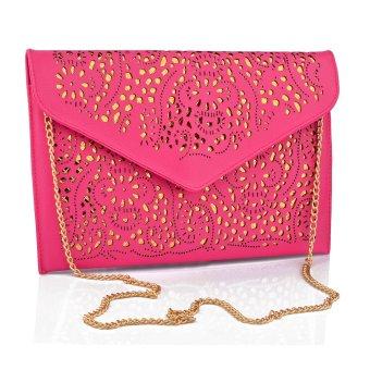 360DSC Retro Hollow Envelope PU Chain Sling Bag Clutch Bag Rosy