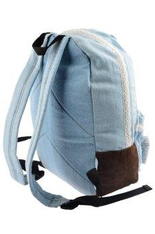 360DSC Cute Denim Lace Bowknot Backpack School Bag for Girls and Women - Jean Light Blue