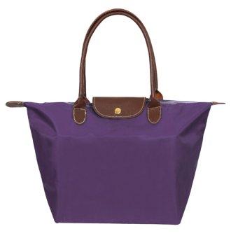 360DSC Small Size Fashion Folding Nylon Dumpling Shape Bag Handbag Tote Bag Beach Bag for Women - Purple - Intl