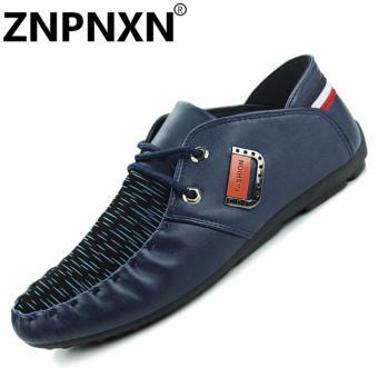 Sepatu Pria kasual datar aksen dan renda-up Biru. >>>>
