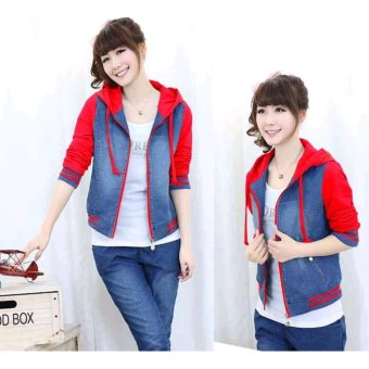 Home Fashion Flower Jaket Couple Qing Luoc Stripe Black Coksu Jaket Cherry Jeans .
