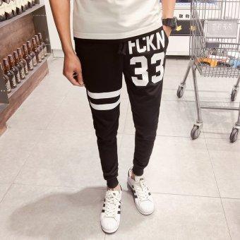 ZUNCLE Men Number Printing Korean Trousers Sports Pants(Black)