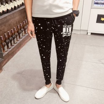 ZUNCLE Men's Sports White dots Printed harem pants Slim Feet long Trouser(Black)