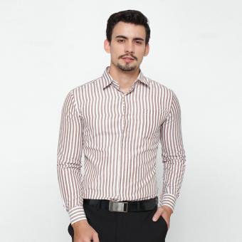 EN-ZY Men Shirt Long Sleeve Striped - Krem