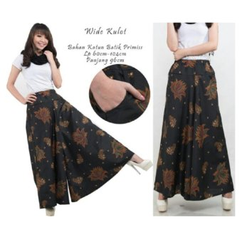 Harga Terbaru 168 Collection Celana Kulot Rok Lotus Batik Long Pant-Hitam