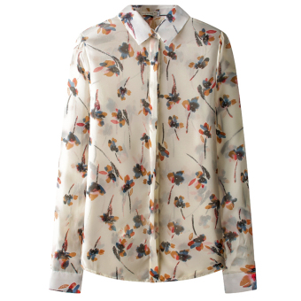 ZUNCLE Printed Chiffon Long-sleeved Shirt Sunscreen(Tan)