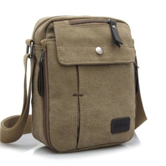 Harga Tas Pria Men Vintage Canvas Multifunction Travel Satchel Messenger Shoulder Bag – Khaki Murah