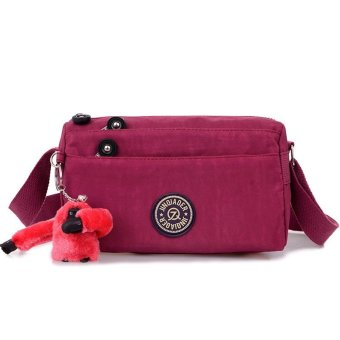 Fashion Wanita Tas Tahan Air Nilon Crossbody Shoulder Bags Burgundy .
