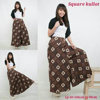Harga Terbaru SB Collection Celana Kulot Rok Batik Square Wide Jumbo Long Pant-Coklat