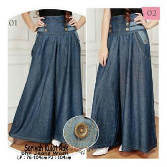 Harga Terbaru 168 Collection Celana Sakirah Kulot Rok Jeans-Biru