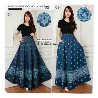 Harga Terbaru SB Collection Rok Maxi Trina Jeans Long Skirt-01 Biru Tua