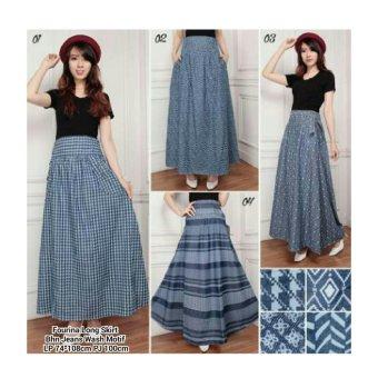 Harga Terbaru 168 Collection Rok Maxi 4 Motif Jeans Long Skirt-03