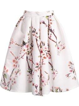 model Vintage bunga persik mekar cetak gaun prom berlipat rok Midi pemain skat gadis untuk wanita
